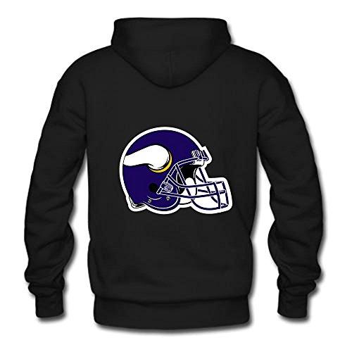 Custom Apparel Mens Minnesota Vikings Design Black Classic Hoodie Sweathirt-L