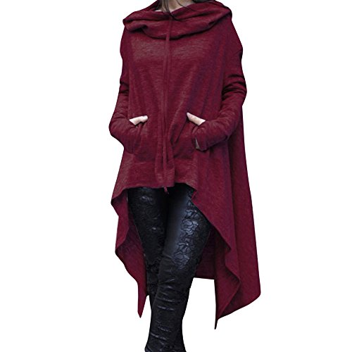 Big Toimoth Women Loose Hoodie Sweatshirt Pullover Sweater Asymmetric Blouse Tops (Wine,XXXXL)