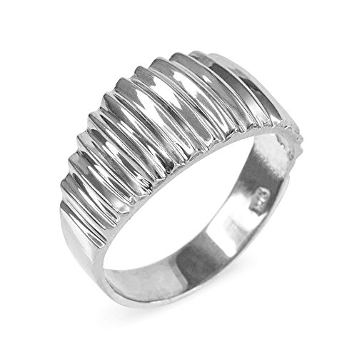 Ribbed Dome Ring in High Polish 925 Sterling Silver (Size 9)