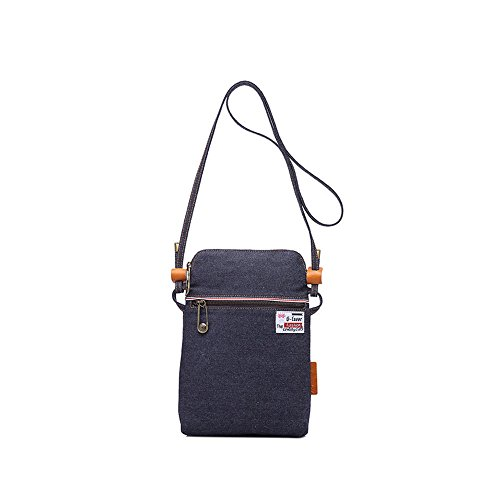 Compras Bolso de hombro simple retro de la lona con cremallera Messenger Bag Color Dark Blue Cómodo