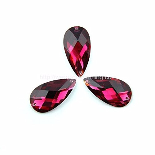 Crystal Fuschia Tear Drop 10MM X 14MM Resin Stone Sew on or Glue On Selling Per Pack/180 Pcs