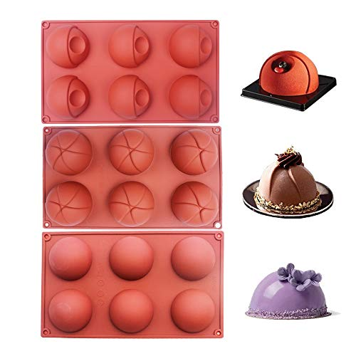 - BAKER DEPOT Bakeware Set Dome Silicone Mold for Cake Decorating Jelly Pudding Candy Chocolate 6 Holes Flower Eye Design Semicircle Silicone Mousse Mold Brown Color, Set of 3