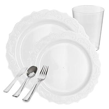 POSH Fuentes del partido | elegante blanco bordado plástico vajilla paquete para 20 personas | incluye cena y postre platos, cubiertos y vasos de plástico ...