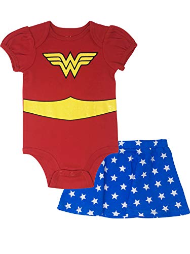 Wonder Woman Infant Baby Girls' Costume Bodysuit & Skirt Outfit Clothing Set (Red, 6-9 Months)
