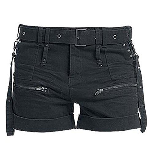 Dressation Womens Steampunk Style Overalls Design Short Pants Black