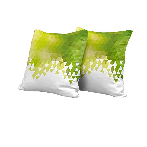futon Cushion Cover Green,Triangular Abstract Pattern Design Geometrical Mosaic Poly Effect,Yellow Green Lime Green White Floral Pillow Covers 14x14 INCH 2pcs