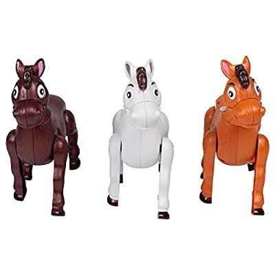 Set of 3 Musical Galloping Action Sound Western Horses 7 Inch Toys: Toys & Games
