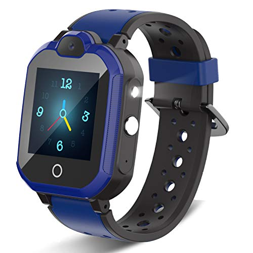 4G Kids Smartwatch, Waterproof Children Watch GPS Tracker with SOS/Video Chat/Two-Way Call/Bluetooth/WiFi/Flashlight, Kid Phone Watch for Boy Birthday Gift (Blue)