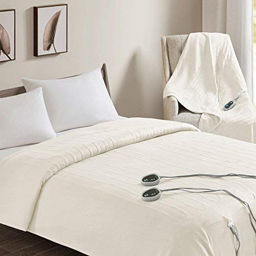 Beautyrest - Heated Fleece Blanket and Throw Combo Set - Ivory - Twin Size Blanket 62