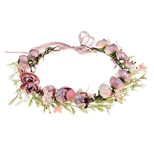 (Floral Fall Camellia Flower Crown Rose Headpiece Wedding Bridal Flower Girl Halo Maternity Photo Props FL-03 (Pink))