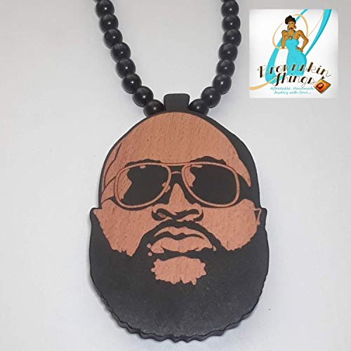 Rick Ross Wooden Pendant' - Hand-Altered Beaded Necklace - Hip Hop - 36' Long - 8mm Beads (Beaded Handmade Necklace)