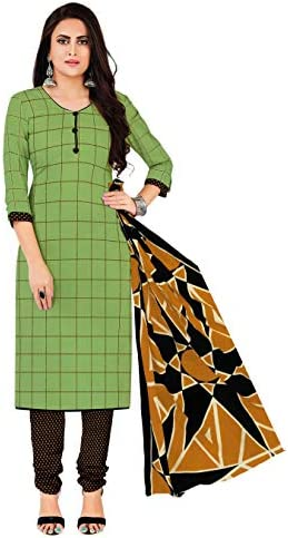 Miraan Women Cotton Unstitched Dress Material (SAN1416, Green, Free Size)