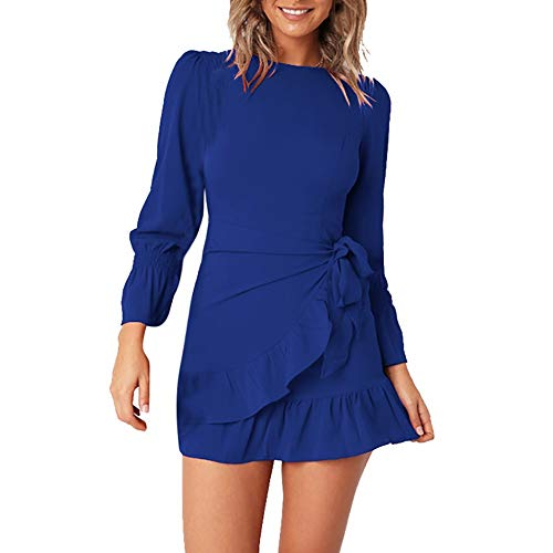 2019 〓COOlCCI〓 Womens Slim Fit Strapping Bell Sleeve Lace Up Ruffles Mini Dress Blue