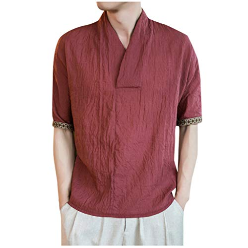 V-Neck Cotton Linen Shirts for Men,Casual Baggy Half Sleeve Tee Summer Beach Yoga Quick Dry Blouse by Leegor Red