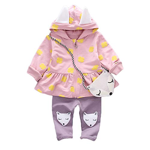 SMALLE ◕‿◕ Clearance,Toddler Baby Girls Long Sleeves Print Hooded Coat Tops Solid Fox Pants +Bag Sets by SMALLE