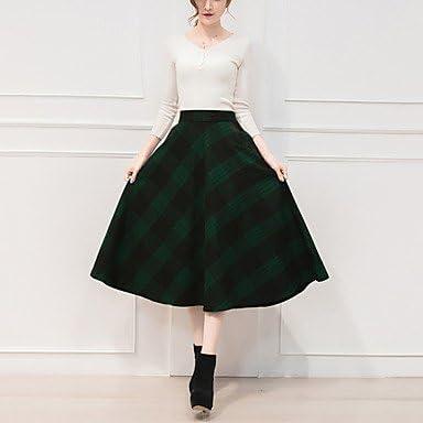 DRESS ZLL Mujer Tallas pequeñas Faldas,Línea A Cuadrícula Plisado ...