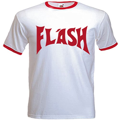 The Flash 1980 (Urban Shaolin Men's Flash Gorden (Freddie Mercury) Inspired T Shirt, Xtra Large, White with Red)