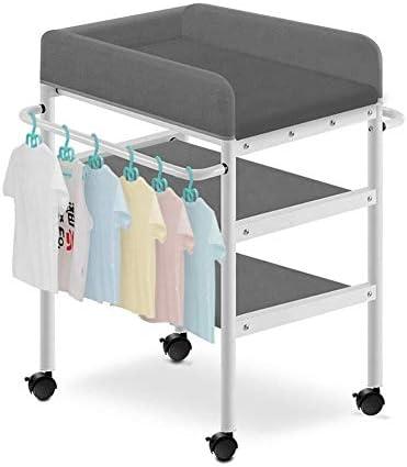 赤ちゃんおむつ交換台 赤ちゃんは、乾燥棚、ユニバーサルブレーキホイール、80キロのロード/ストレージデスクキッズおむつ駅主催でテーブルを変更する曲げ以上、おむつなしで赤ちゃんの世話のために表小ベッドを変更します (Color : Gray)