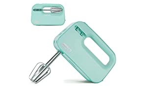 Dash SHM01DSBU Smart Store Compact Hand Mixer Electric for Whipping + Mixing Cookies, Brownies, Cakes, Dough, Batters, Meringues & More, 3 speed, Aqua