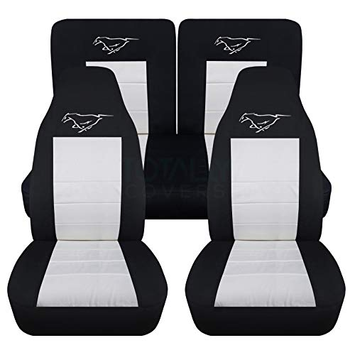 (Totally Covers Fits 1994-2004 Ford Mustang Seat Covers w Pony: Black & White - Full Set (23 Colors) Coupe/Convertible Solid/Split Bench 4th Gen 1995 1996 1997 1998 1999 2000 2001 2002 2003)