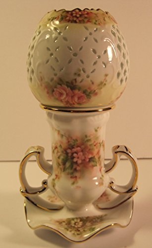 Hurricane Lamp, All 3 Pieces Floral Design with Gold Accents, Porcelain, Lamp with adjustable Wick, Removable Shade and Tray, 7 1/2 Inches