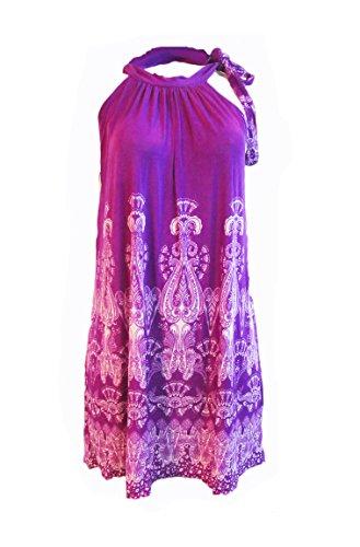 Women's Summer Printed Beach Casual Sleeveless Sundress (XL, Purple) (Sleeveless Beach Dress)
