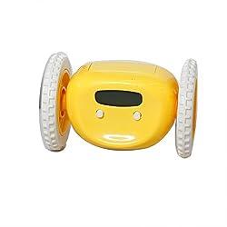 GOTOBUYWORLD Creative Digital LCD Display Running Alarm Clock Runaway Moving Wheels (yellow)