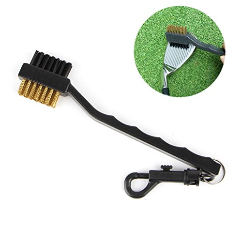 (ULKEME 2 Sided Brass Wires Nylon Golf Club Brush Groove Ball Cleaner Cleaning Kit Tool)
