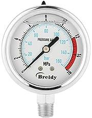 """Indicador de presión de gas analógico 0-160Bar 0 ~ 16Mpa 60 mm para entrada de la base del instrumento con dial de agua y aceite de aire NPT 1/4 """""""