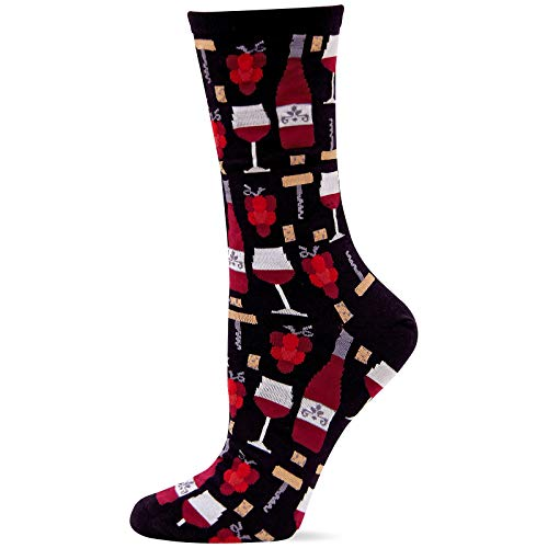Hot Sox Women's Food and Drink Novelty Casual Crew Socks, Wine (Black), Shoe Size: 4-10