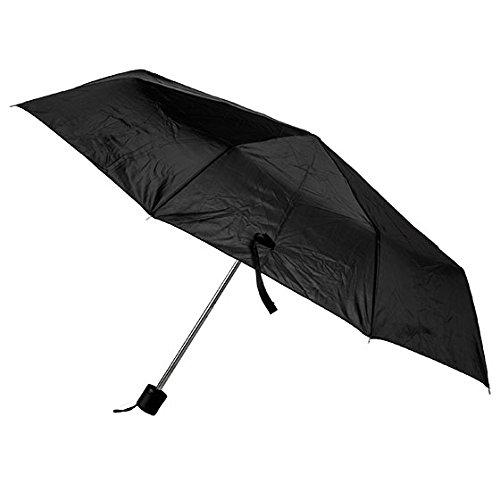 42 Inch Mini Folding Umbrella - Black Umbrella, 42 inches Rain Snow Sun Travel Mini Folding Compact Men Women