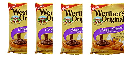 Werthers Original Cocoa Creme Soft Caramels, 4.51 oz (Pack of 4) (Filled Chocolates Creme)