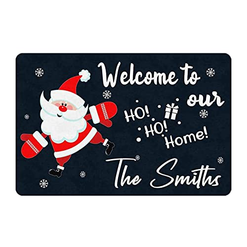 Gxiliru Welcome to Our Ho Ho Home Personalized Sign Home Christmas Decoration Gift Cute Santa Claus Living Room Entryway Porch Custom Decorative Plaque Indoor Outdoor Door Wall Hangings Welcome Sign