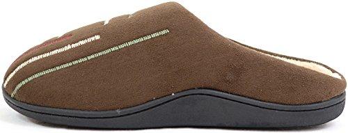 Mocassino Uomo Slip On Muli / Pantofole Con Fodera Calda In Micro Pile Marrone