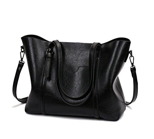 LQQAZY Borsa A Mano Donna Retrò Messenger Bag Europa E America Black
