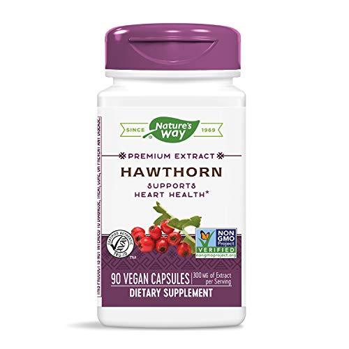 Hawthorn Herbal Supplement - Nature's Way Hawthorn Standardized Heart Function 1.8% Flavonoids, 90 Vcaps, 90 Count