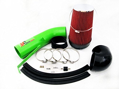 99 00 01 02 03 04 05 06 Chevrolet Silverado 1500 / 1500 HD with 4.8L/5.3L/6.0L Green Piping Heat Shield Cold Air Intake System Kit with Red Filter