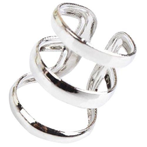 SODIAL(R) Elegant style Jewelry Punk Rock Ear Clip Cuff Wrap No piercing-Clip Earrings Silver