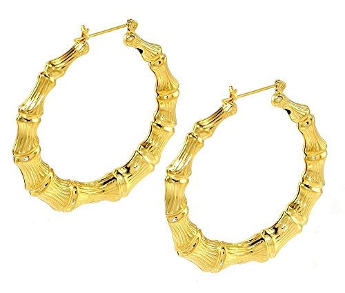 14K Gold Plated Hollow Bamboo Hoop Earrings 46.5mm Drop Made in USA (Bamboo Gold Plated Earrings)