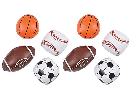 Mini Vinyl Basketball - Kicko Vinyl Sport Balls - Pack of 8-1.75 - 3 Inch Assorted Cool Fun Sports Mini Balls - for Kids - Party Favors, Bag Stuffers, Toy, Fun, Prize, Pinata Fillers