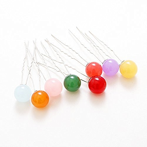 10Pcs Colorful Cute Candy Balls U-clip Pearl Hairpins Hair Accessories, DIY Hair Styling Hair Decoration(Random Color)