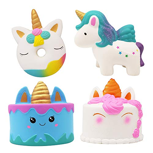 4 Pcs Jumbo Squishies Slow Rising Narwhale Cake,Uincorn Cake Unicorn Donut Rainbow Horse Set Unicorn Mousse Ice Cream Scented Squishies Slow Rising Kids Toys Doll Relief Toy Hop Props Decorative by Xplanet