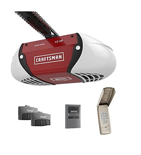 Craftsman ½ HP Chain Drive Garage Door Opener with two Multi-Function Remotes and Keypad 00954985000P ()