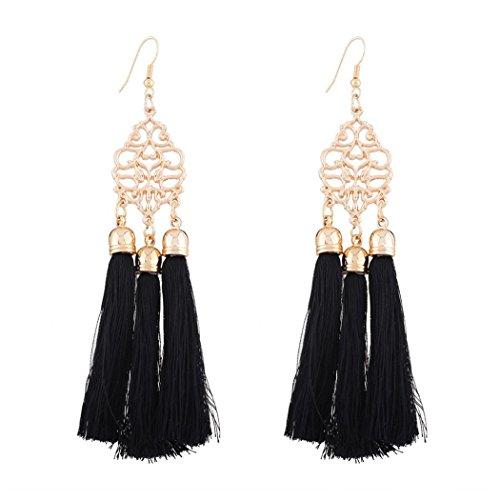 Inkach Women Bohemian Earrings Long Tassel Fringe Dangle Earrings Jewelry (Diamond Tassel)