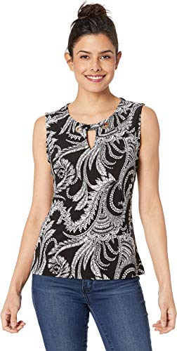 (Tommy Hilfiger Women's Printed Grommet Knit Top Black Multi 1 X-Large)