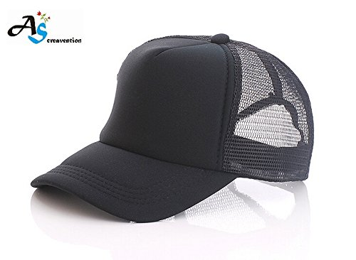 Baseball Mesh Cap with Adjustable Snapback Strap (Black Black)