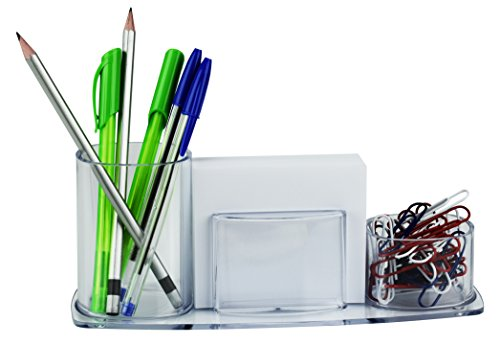 Acrimet Millennium Desk Organizer Pencil Paper Clip Cup Holder (with Paper) (Clear Crystal Color)