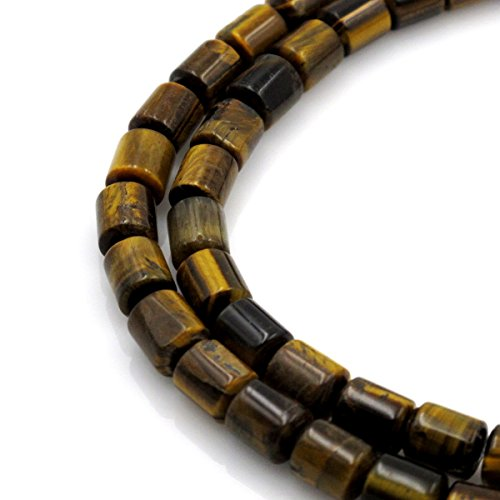 BRCbeads Gorgeous Natura Yellow Tiger Eye Tube Gemstone Loose Beads 8x10mm Approxi 15.5 inch 40pcs 1 Strand per Bag for Jewelry (Eye Tube)