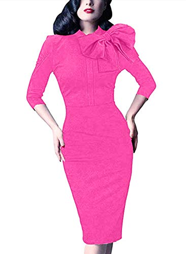Women's 1950s Retro 3/4 Sleeve Bow Cocktail Party Evening Dress Work Pencil Dress (L, Pink)