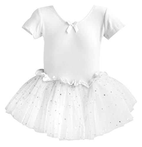 Dancina Leotard Sparkle Tutu Dress Short Sleeve Lovely Girls Princess Costume 2T White
